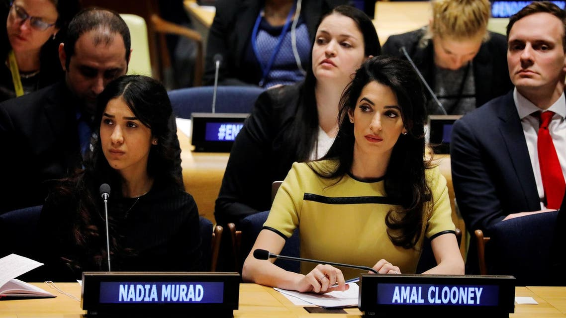 International human rights lawyer Amal Clooney (C) with Nadia Murad at UN headquarters in New York, on March 9, 2017. (Reuters)