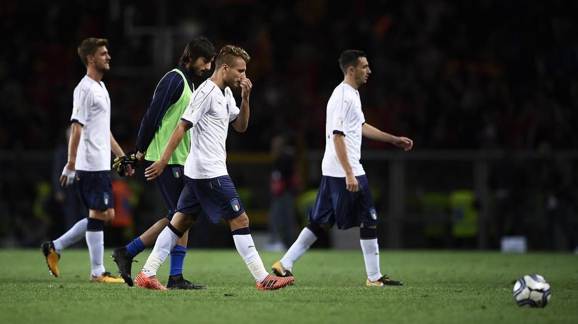 Italy's midfielder Ciro Immobile (C) reacts at the end of the FIFA World Cup 2018 qualification football match between Italy and Macedonia at The 'Grande Torino Stadium' in Turin on October 6, 2017.  MARCO BERTORELLO / AFP