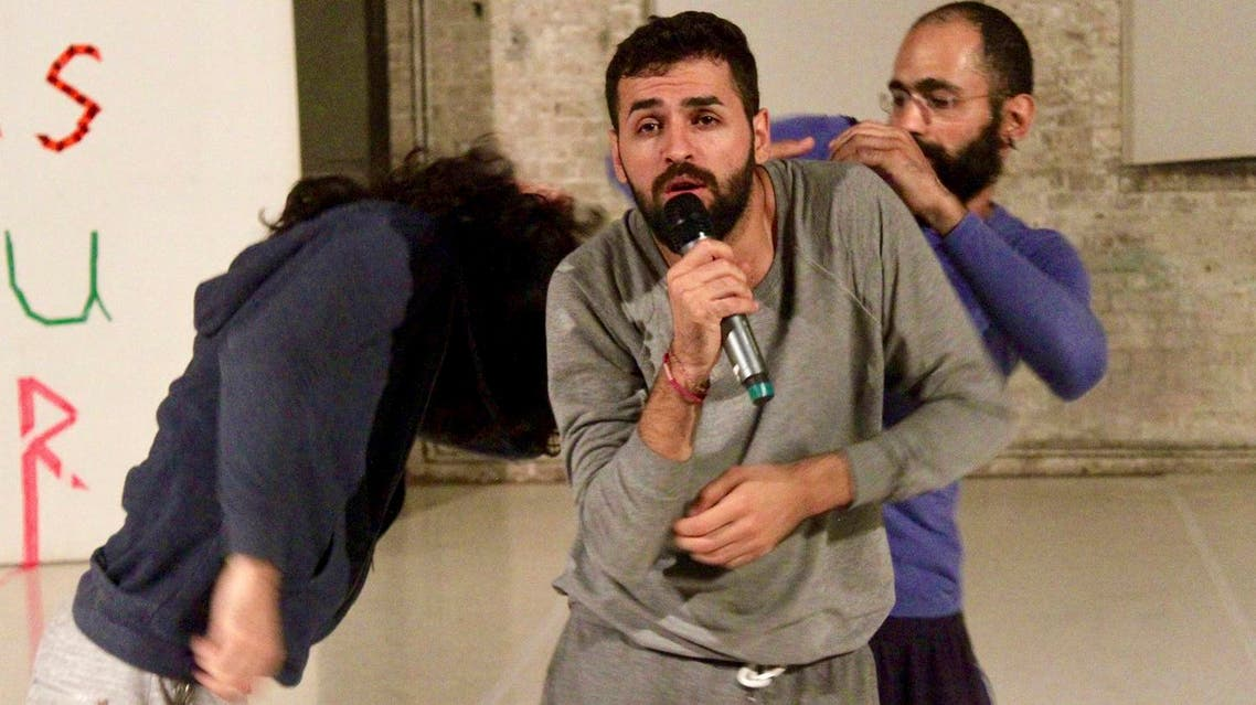 """Medhat Aldaabal, a 30-year-old migrant from Syria, practice ahead of a performance of """"Come As You Are"""" in Berlin. The dance and theatre show deals with life as a migrant in the German capital. (AP)"""