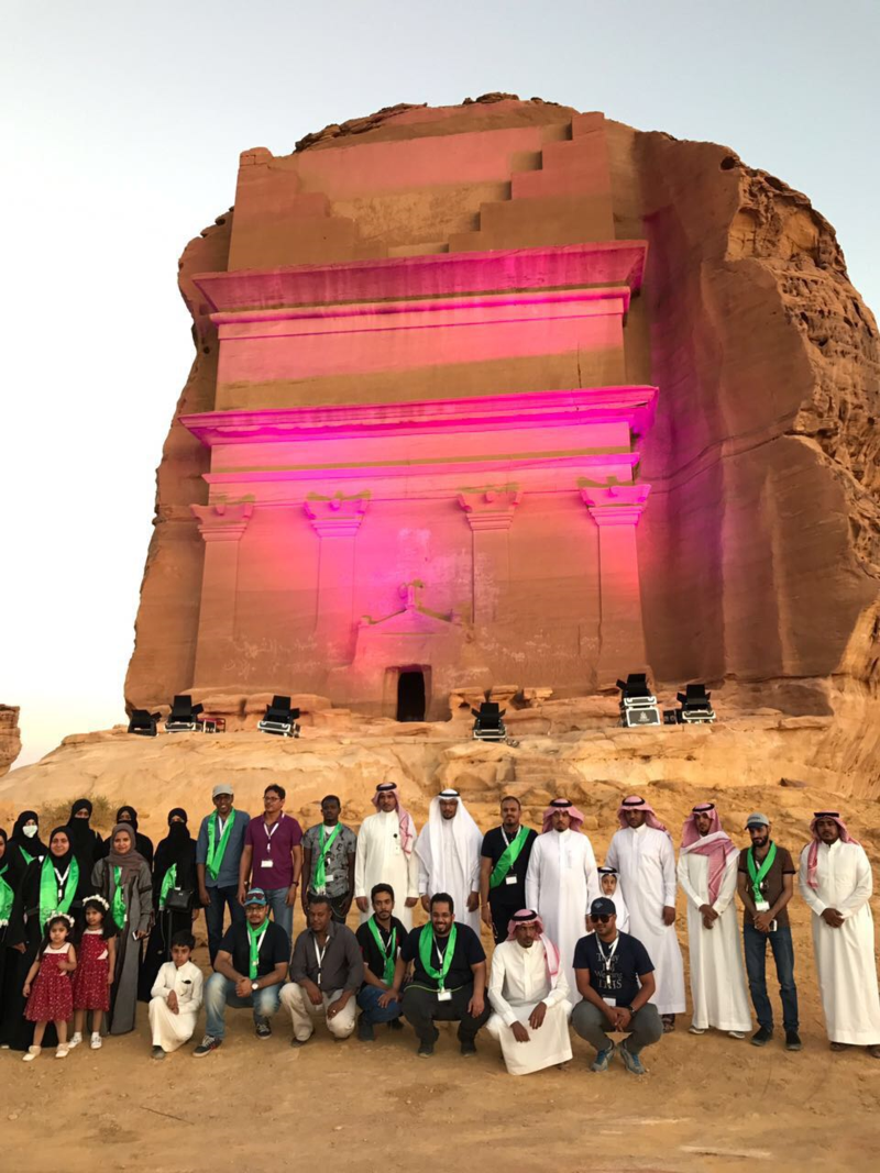 Saudi archaeological site in Madinah lit in pink for breast cancer awareness month