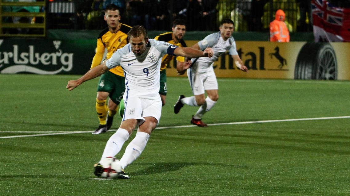 """England rounded off an unbeaten World Cup qualifying campaign with Harry Kane's first-half penalty sealing an uninspiring 1-0 victory over Lithuania in rainy Vilnius on Sunday.                Gareth Southgate's side topped Group F with 26 points from 10 games, eight more than second-placed Slovakia, but their comfortable progress to Russia masks a worrying lack of flair.                England enjoyed 71 percent of possession on a slick artificial surface but managed only four shots on target as they failed to penetrate a resolute home defense.                Once again it was captain Kane who made the difference -- taking his goal tally to six in his last seven internationals.                He finished clinically from the spot in the 27th minute after his Tottenham Hotspur team mate Dele Alli tumbled in the area under a clumsy challenge from Ovidijus Verbickas.                There was precious little else to warm the rain-soaked England fans who made the long trip to the tiny stadium.                """"It was not a fantastic performance but solid,"""" Kane said. """"They didn't create many (chances), we had a few. We were missing a bit of quality really in the final third. The surface was difficult but we have to do better.""""                England made seven changes from the 1-0 victory over Slovenia on Thursday that guaranteed a sixth successive World Cup qualification -- that match also decided by Kane. (AFP)"""