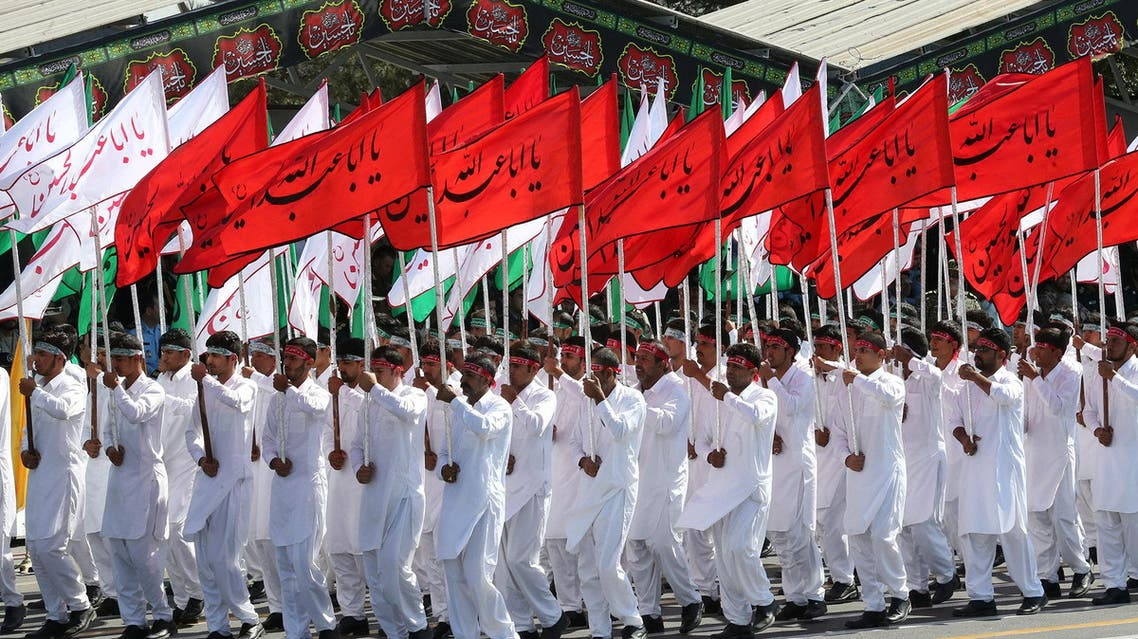 Members of Iranian armed forces march during a parade in Tehran on September 22, 2017. (Reuters)