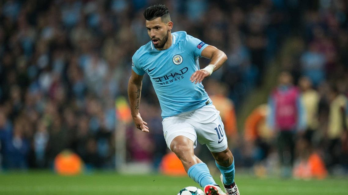Manchester City's Argentinian striker Sergio Aguero runs with the ball during the Group F football match between Manchester City and Shakhtar Donetsk at the Etihad Stadium in Manchester, north west England, on September 26, 2017.  OLI SCARFF / AFP