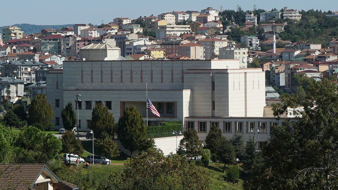 The United States consulate in Istanbul, Monday, Oct. 9, 2017. The Unites States had suspended non-immigrant visa services at its diplomatic facilities in Turkey following the arrest of a consulate employee. Turkish officials say Turkey is asking the United States to reverse its decision to suspend non-immigrant visa services at its diplomatic facilities, saying both countries' citizens suffer from the move. (AP Photo/Neyran Elden)