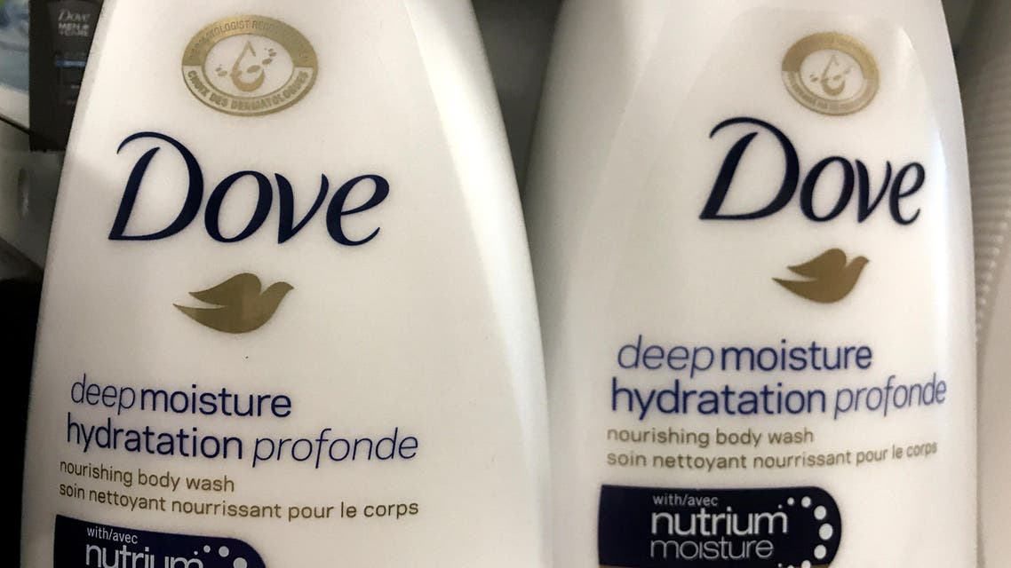 Two bottles of Dove's Deep Moisture body wash are displayed in Toronto, Ontario, Canada, October 8, 2017. ( Reuters)