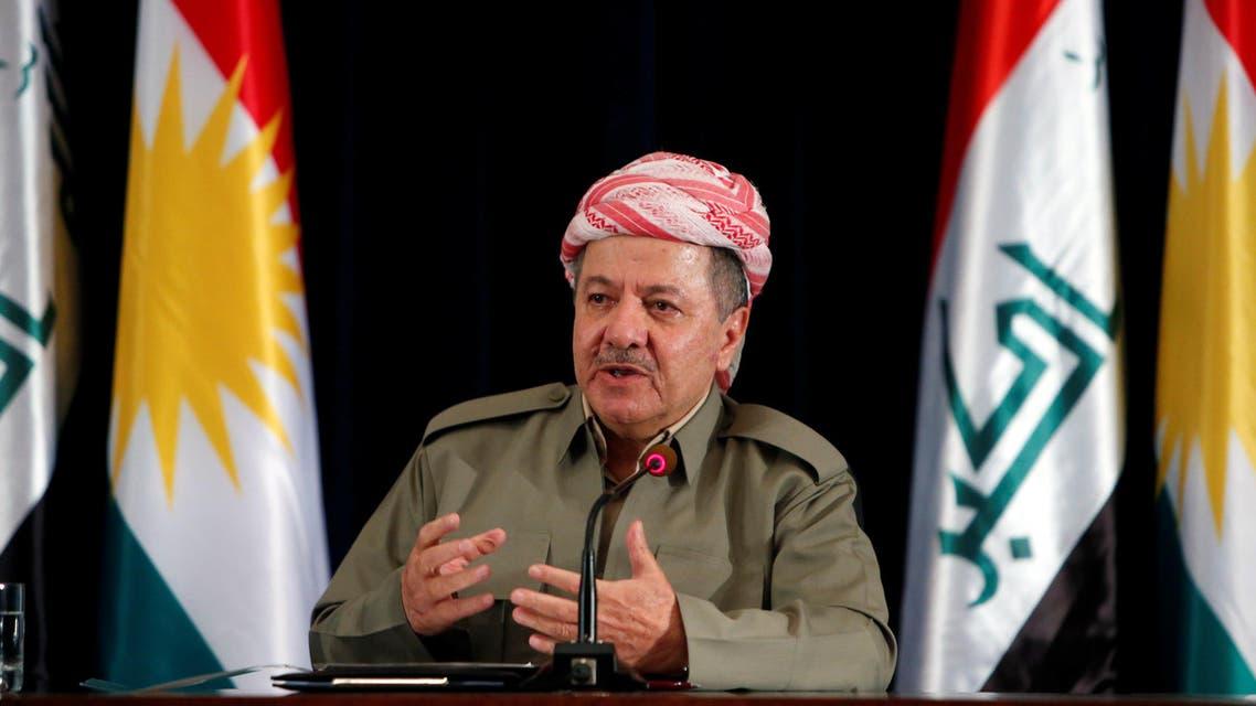 President of the Kurdistan Region of Iraq Massoud Barzani speaking at a press conference in Erbil on 24 September 2017. Reuters