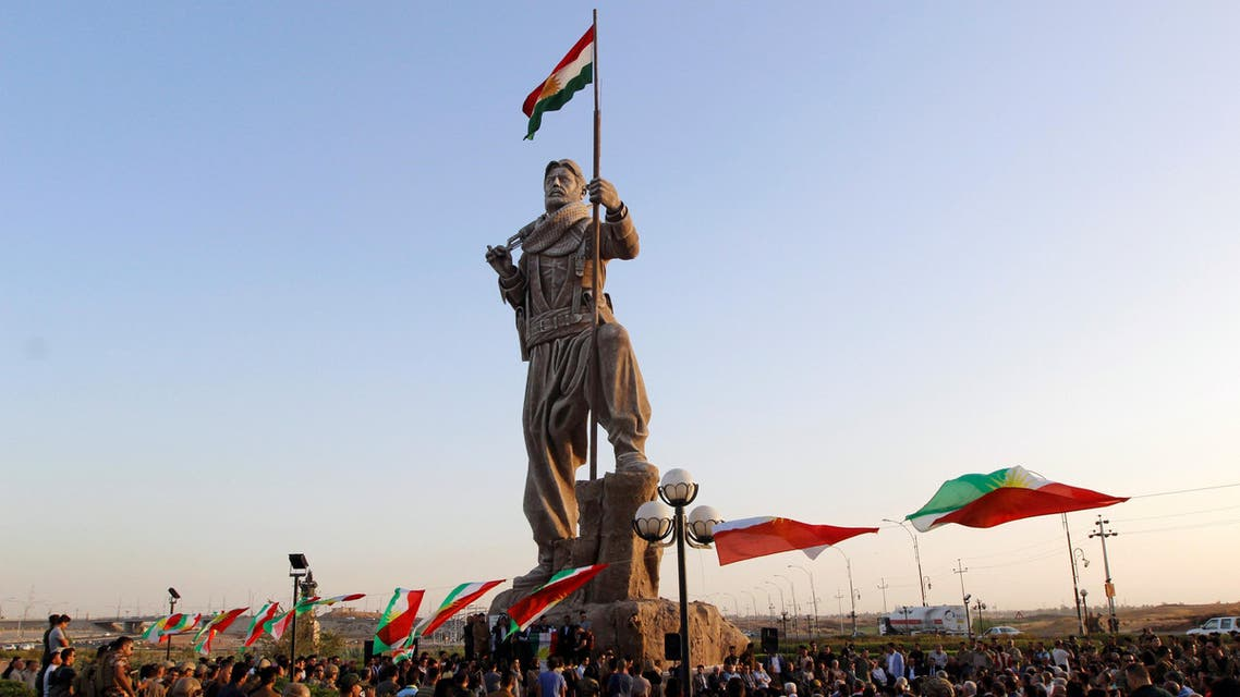 Newly unveiled statue in Kirkuk pays tribute to the Peshmerga, Iraqi Kurdistan's main fighting forces in Kirkuk, Iraq September 23, 2017. REUTERS/Ako Rasheed