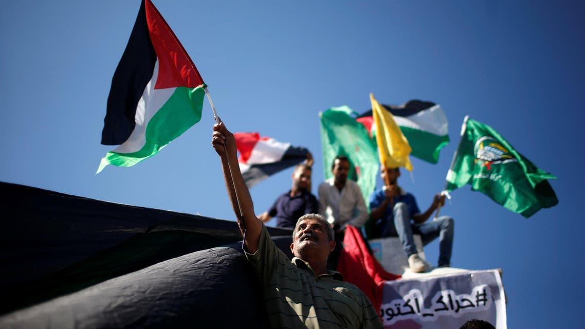 جانب من احتفالات الفلسطينيين في غزة  بتوقيع اتفاق المصالحة