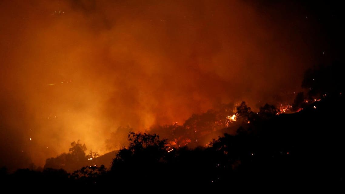 The Pocket wildfire burns in the hills above Geyserville, California, US, October 13, 2017. (Reuters)