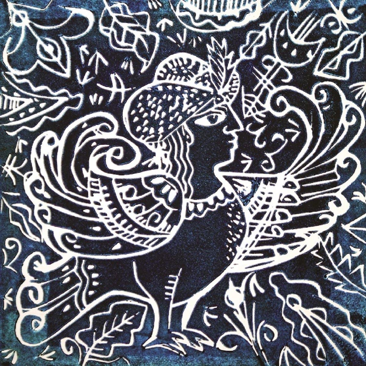 Birds of Paradise II, 1994, (25 x 25 cm); Lino Cut.