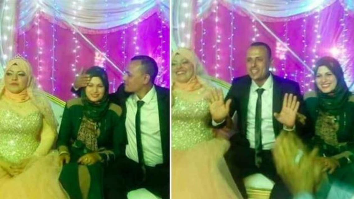 The photos show the woman sitting next to her husband and his new bride during the wedding. (Facebook)
