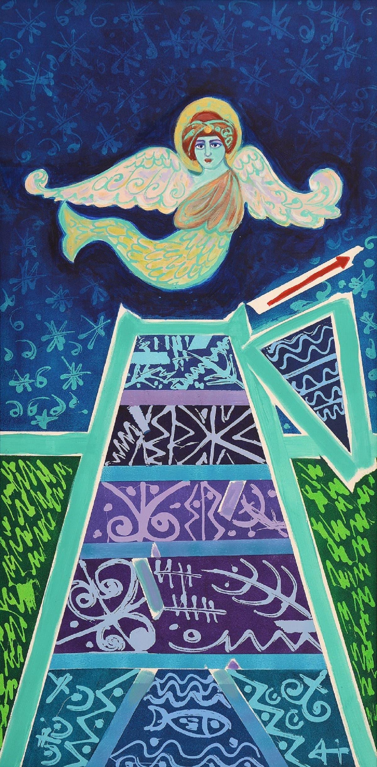 Pisces, 1995, Acrylic on canvas, (127 x 66 cm).