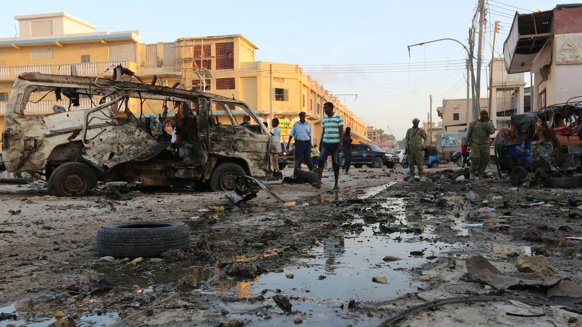 The wreckage of a destroyed van is seen at the scene of a car explosion in Hamarweyne district of Mogadishu, Somalia, September 28, 2017. REUTERS/Feisal Omar