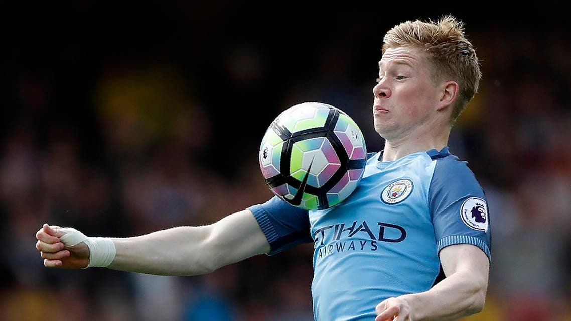 Manchester City's Belgian midfielder Kevin De Bruyne controls the ball during the English Premier League football match between Watford and Manchester City at Vicarage Road Stadium in Watford, north of London on May 21, 2017. (AFP)