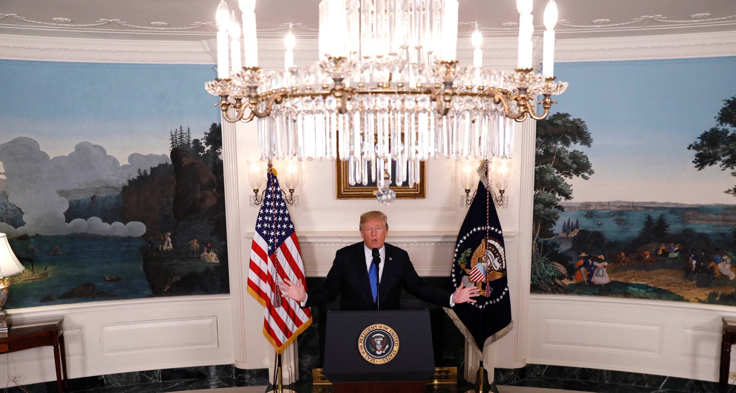 President Trump speaks about the Iran nuclear deal in the White House on October 13, 2017. (Reuters)