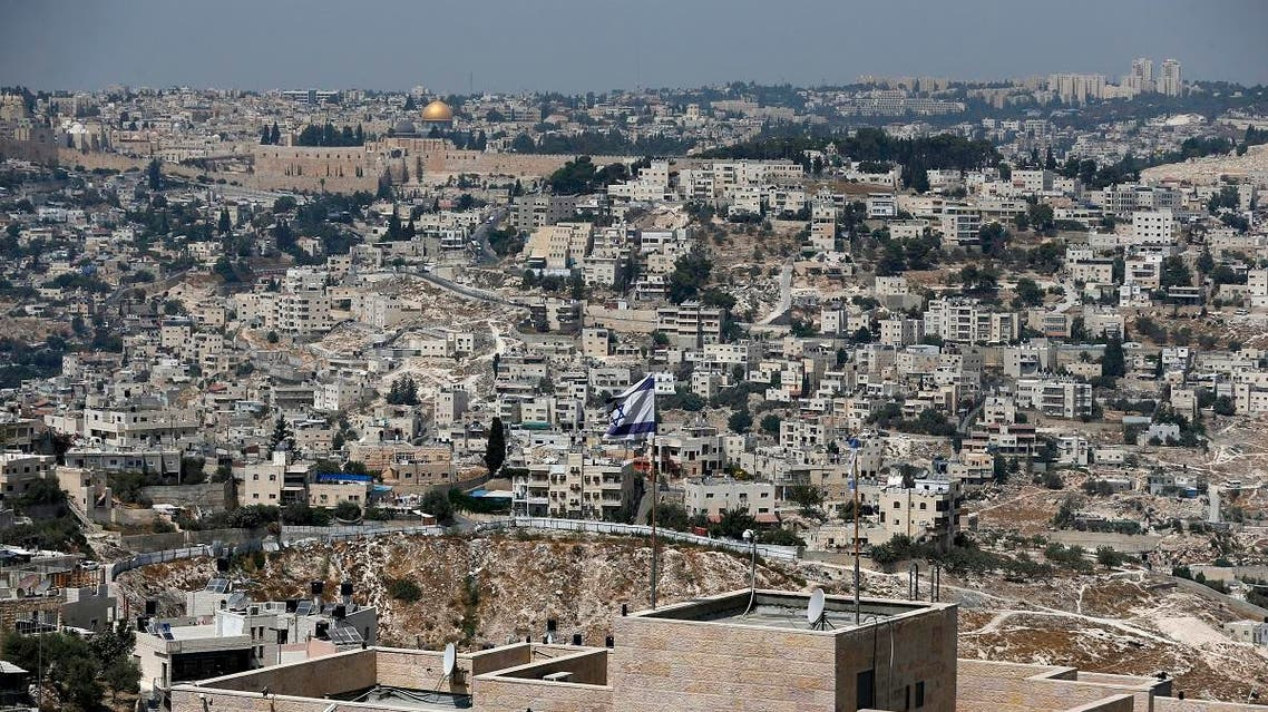 A picture taken on September 10, 2017 from Jabel Mukaber, a Palestinian neighbourhood In Israeli-occupied East Jerusalem shows the Israeli settlement of Nof Zion in the foreground, and the Old City of Jerusalem with the Dome of the Rock in the background. (Reuters)