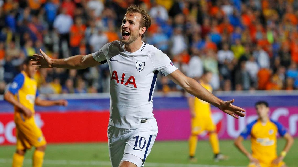 Tottenham Hotspur's English striker Harry Kane celebrates after scoring during the UEFA Champions League football match between Apoel FC and Tottenham Hotspur at the GSP Stadium in the Cypriot capital, Nicosia on September 26, 2017. (AFP)