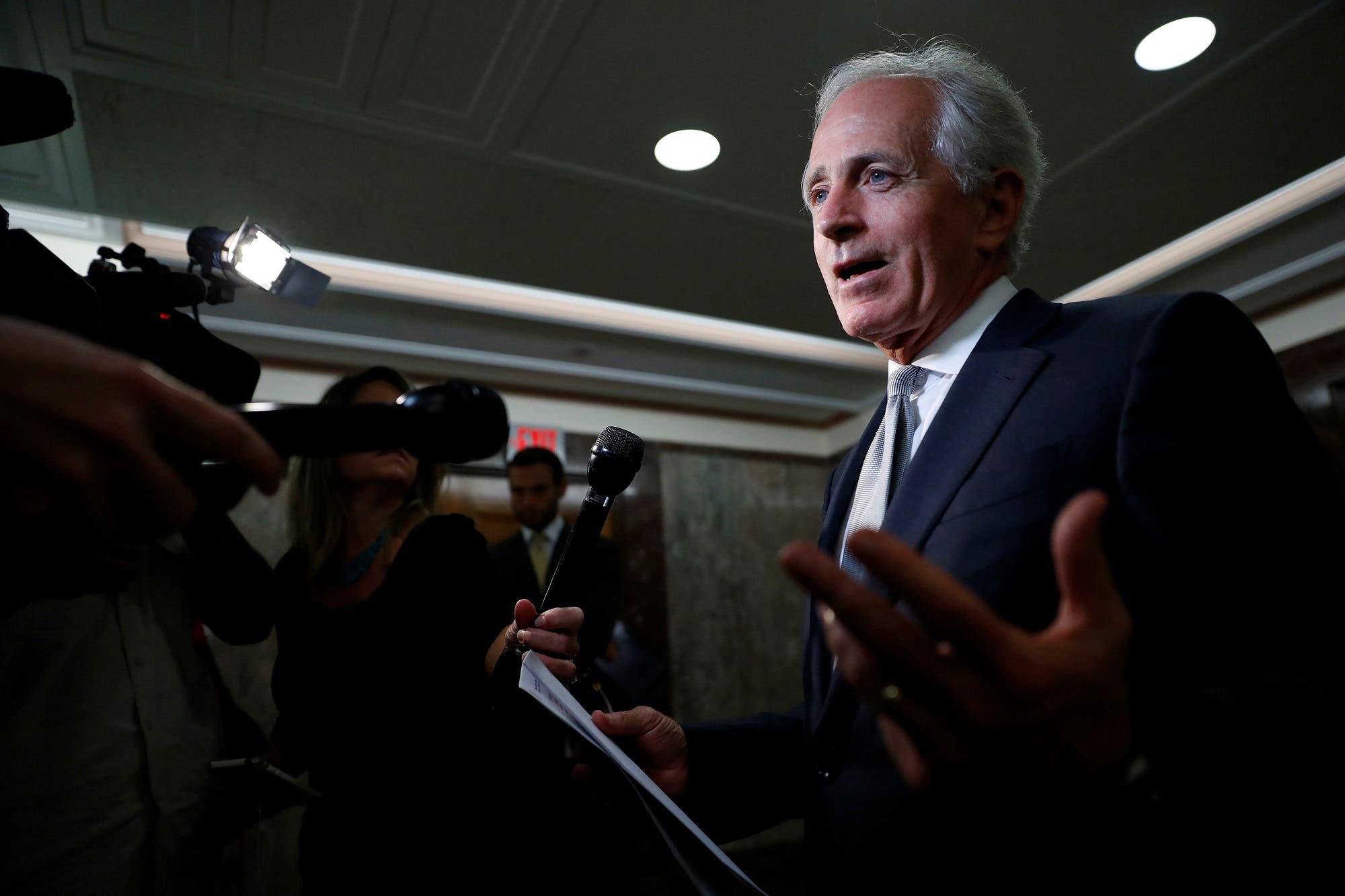 Sen. Bob Corker speaks with reporters after announcing his retirement at the conclusion of his term on Capitol Hill in Washington, on September 26, 2017. (Reuters)