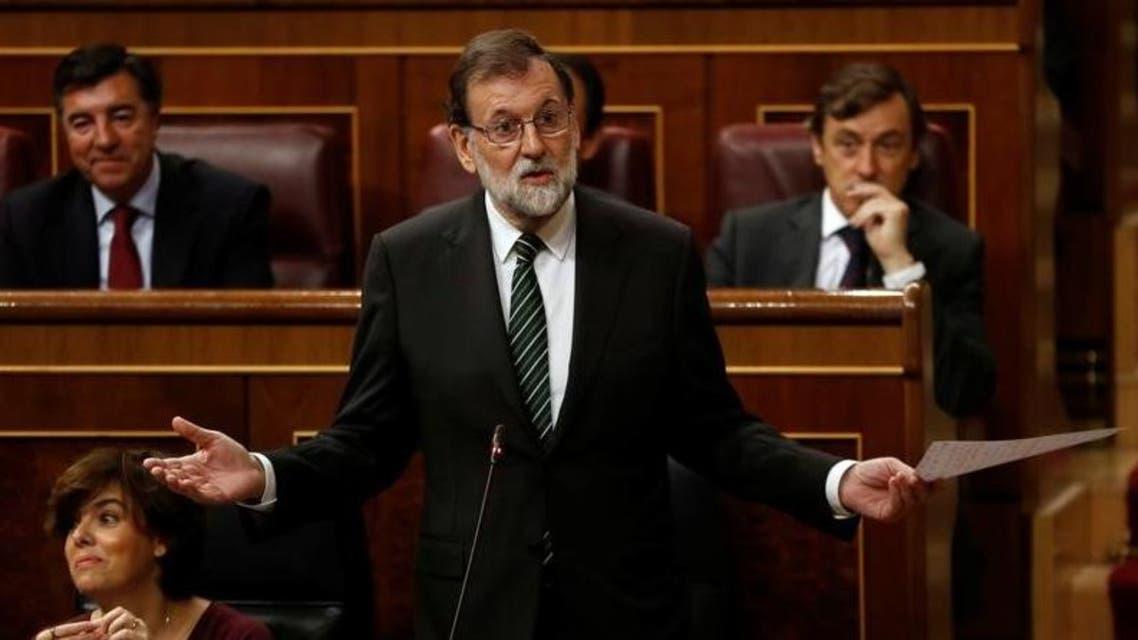 رئيس الوزراء الإسباني ماريانو راخوي يتحدث في البرلمان في مدرد يوم الأربعاء