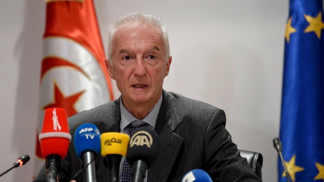 EU counter-terrorism coordinator Gilles de Kerchove speaks at a press conference in the Tunisian capital Tunis on October 17, 2017 after meeting with the Tunisian interior, justice, and defence ministers. (AFP)