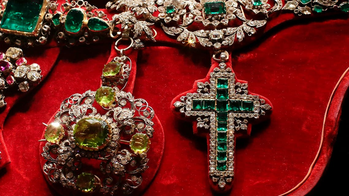 A cross of diamonds and emeralds, donated by French Emperor Napoleon during an exhibition in Rome October 29, 2013. (Reuters)