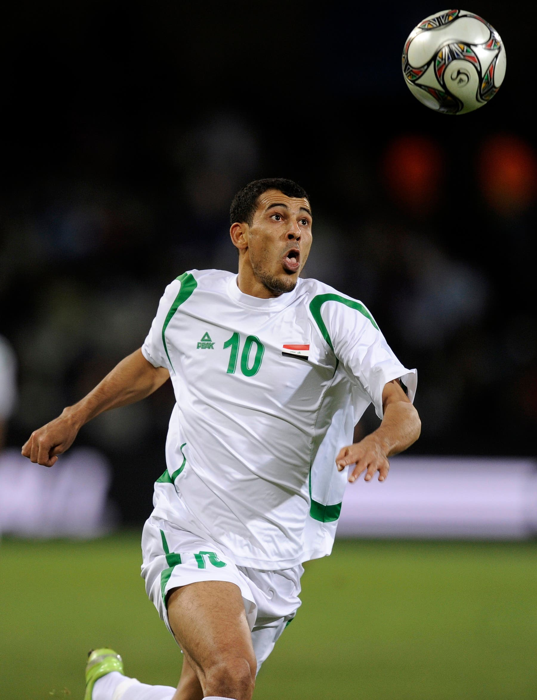Iraq's Younis Mahmoud at a Confederations Cup match against Spain in South Africa in June 2009. (AP)