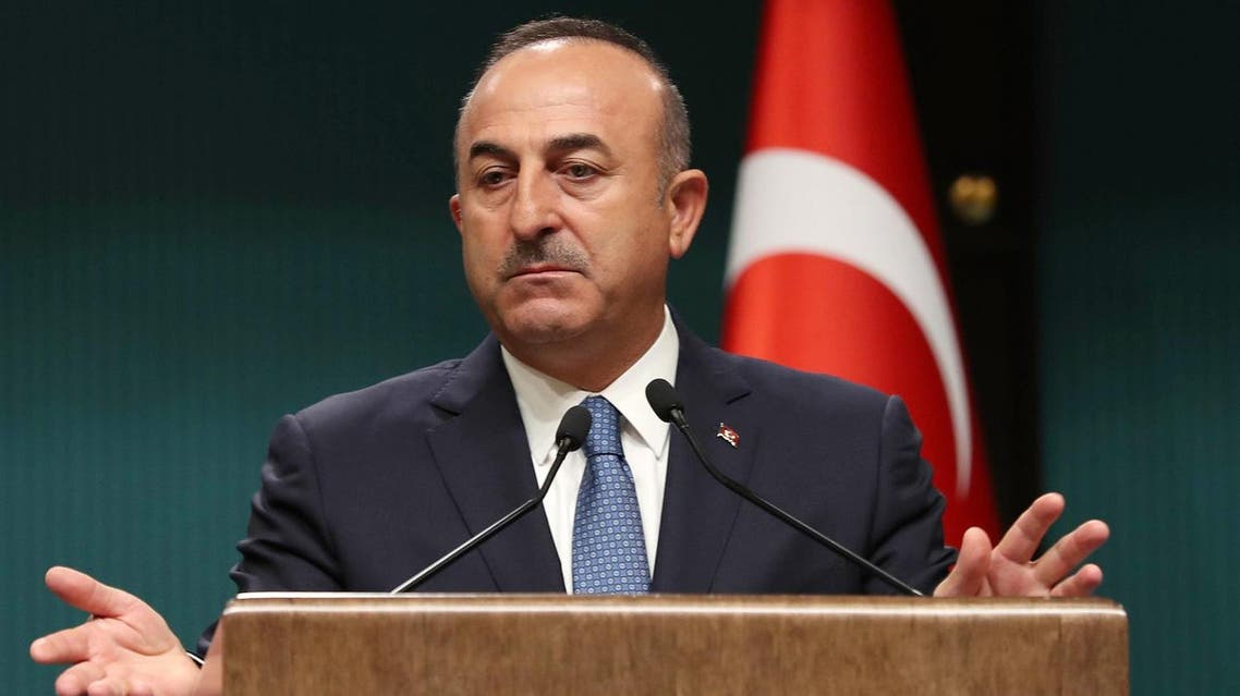 Turkish Foreign Minister Mevlut Cavusoglu speaks during a joint press conference with and French Minister for Foreign and European Affairs following a meeting at the Presidential Complex in the Turkish capital Ankara, on September 14, 2017. (AFP)