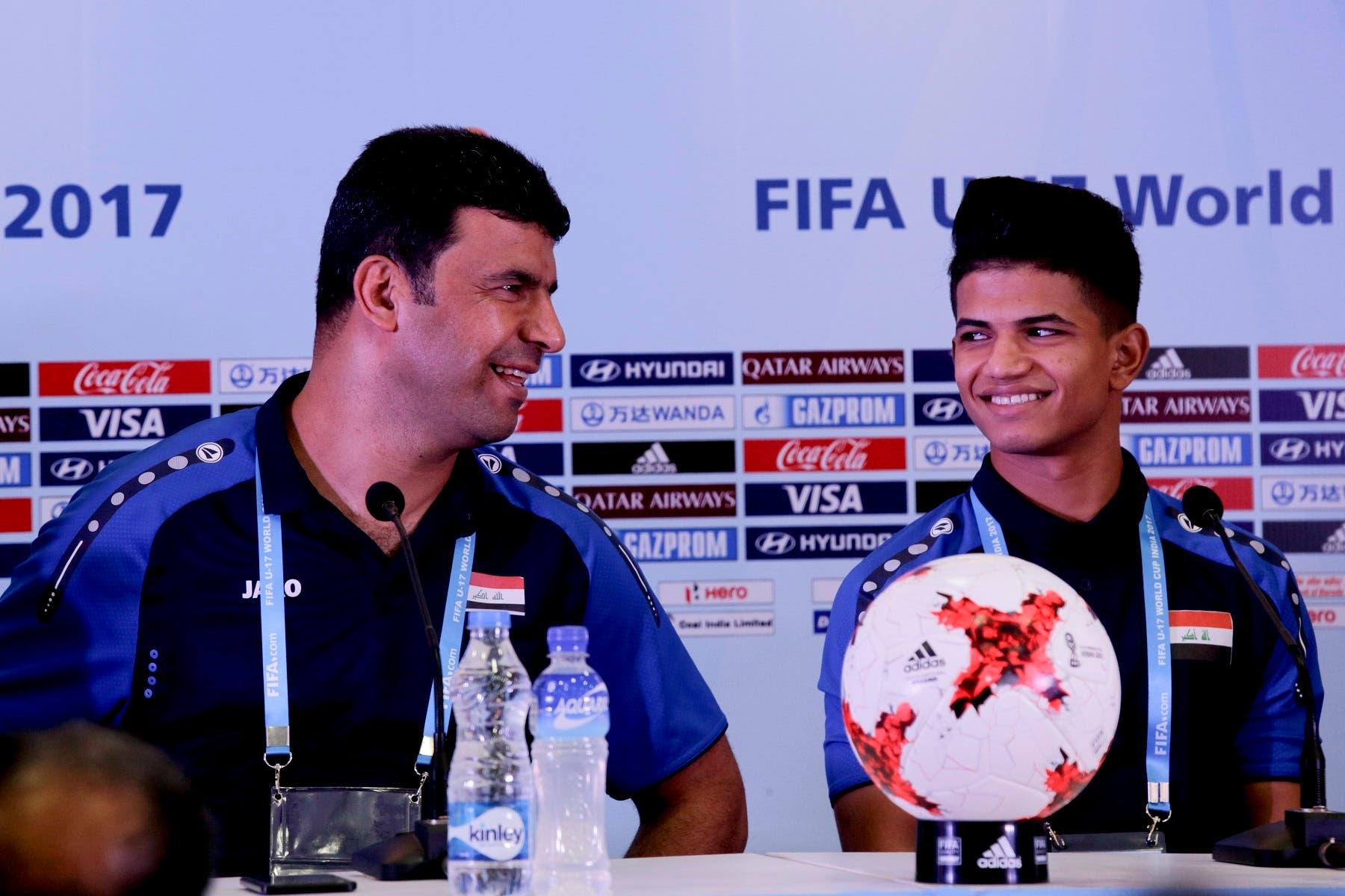 Iraqi coach Qahtan al-Rubaye and midfielder Saif Khalid at a press conference ahead of their FIFA U-17 World Cup match against Mexico. (AP)