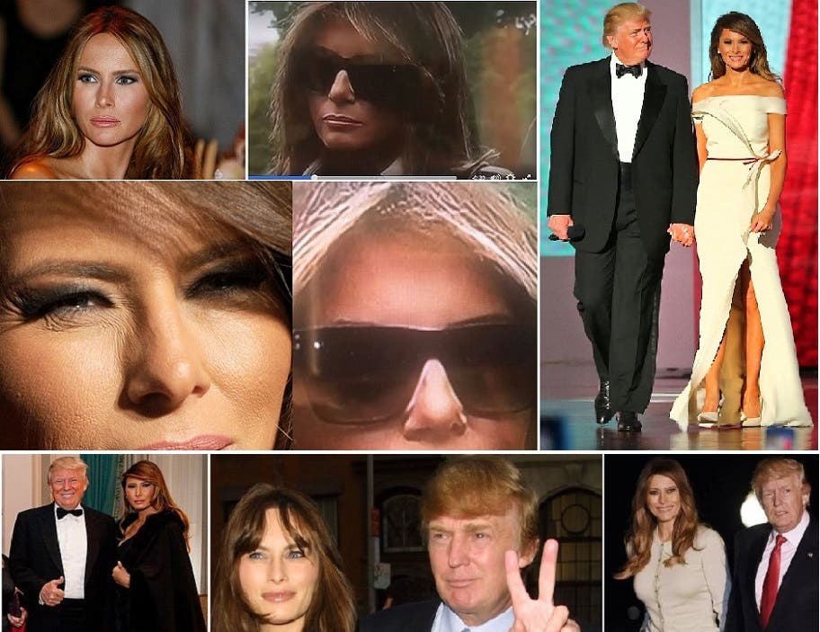 الصورتان بالنظارة الى اليسار هما من الفيديو، وبجانبهما حقيقيتان لميلانيا التي يبدو أنفها مختلفا، كما تبدو قامتها في الفيديو أقصر بكثير مما هي حقيقة بحسب ما نراهما بالصور