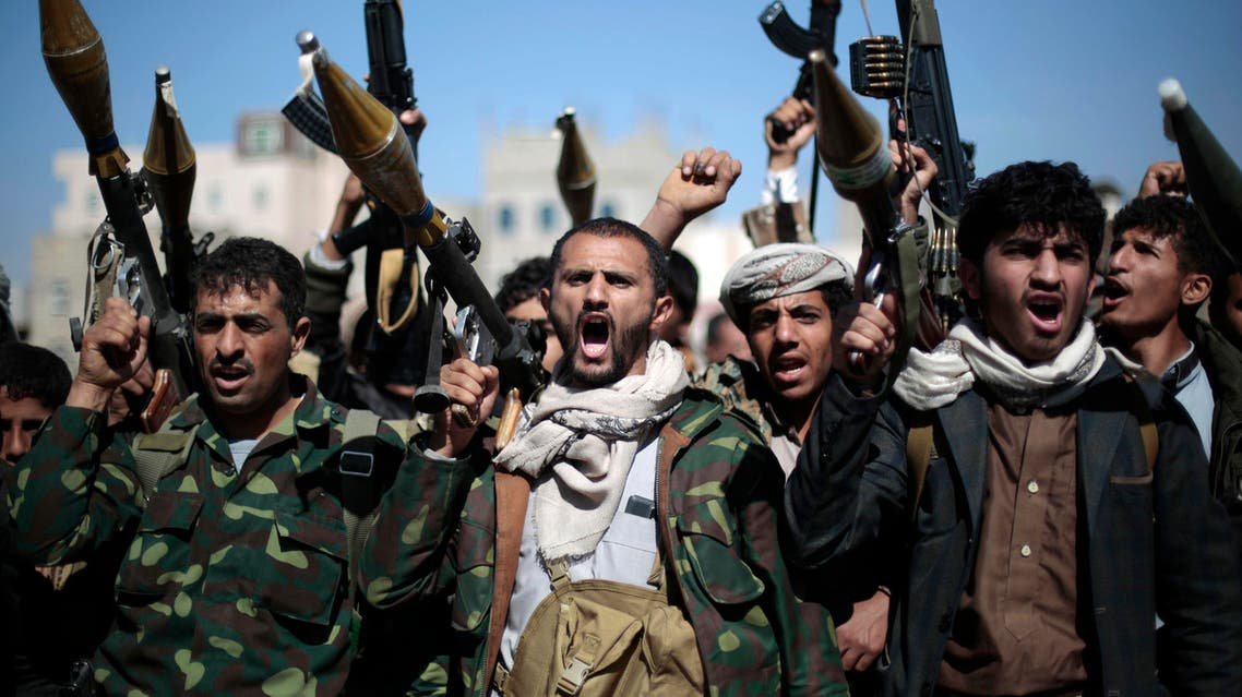 In this Thursday, Nov. 24, 2016 file photo, tribesmen loyal to Houthi rebels hold their weapons as they chant slogans during a gathering to mobilize more fighters into battlefronts in several Yemeni cities, in Sanaa, Yemen. (AP)