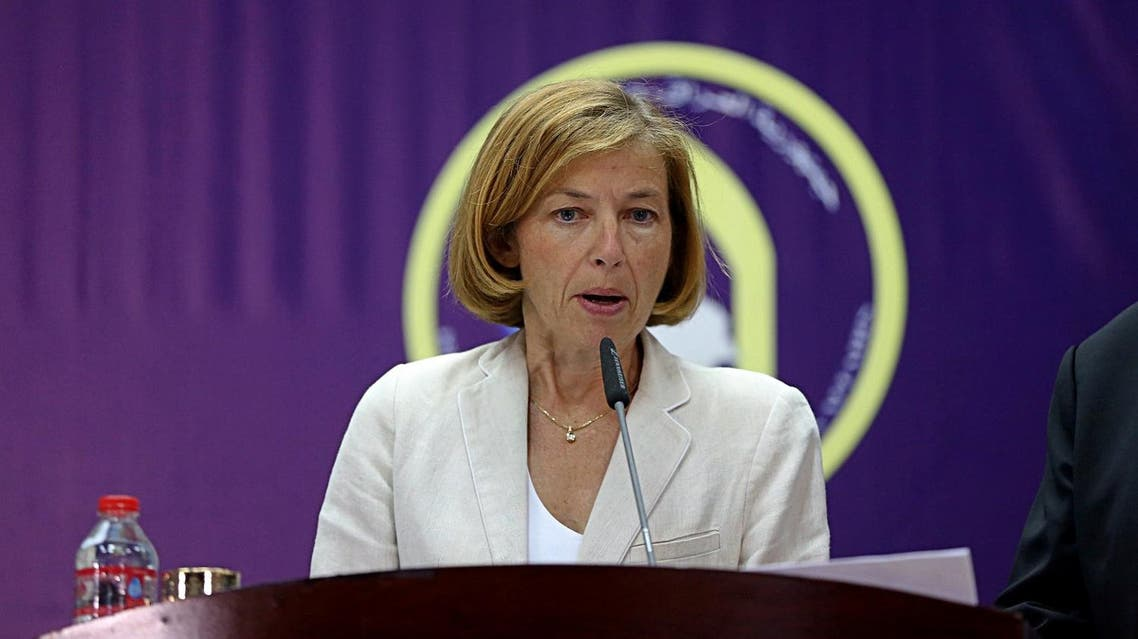 French Defence Minister Florence Parly speaks during a joint press conference with French Foreign Affairs Minister Jean-Yves Le Drian and Iraqi Foreign Minister Ibrahim al-Jaafari in Baghdad, Iraq, Saturday, Aug. 26, 2017. (AP Photo/Karim Kadim)