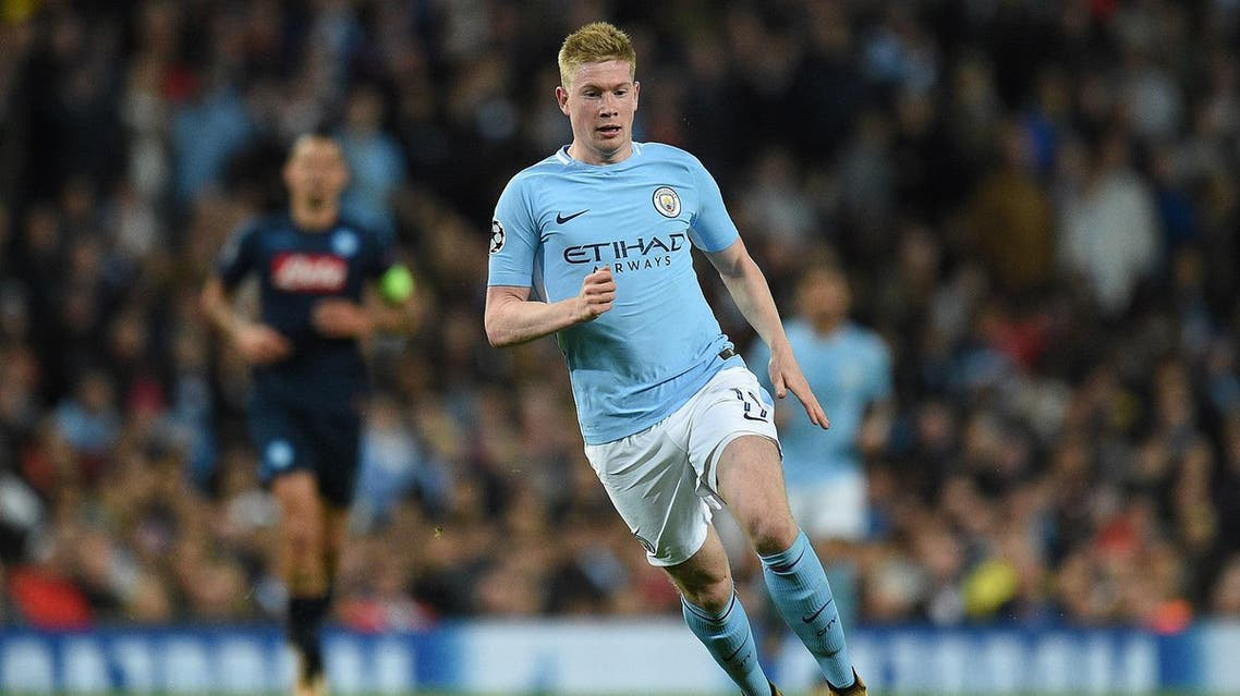 Manchester City's Belgian midfielder Kevin De Bruyne controls the ball during the UEFA Champions League Group F football match between Manchester City and Napoli at the Etihad Stadium in Manchester, north west England, on October 17, 2017.  (AFP)