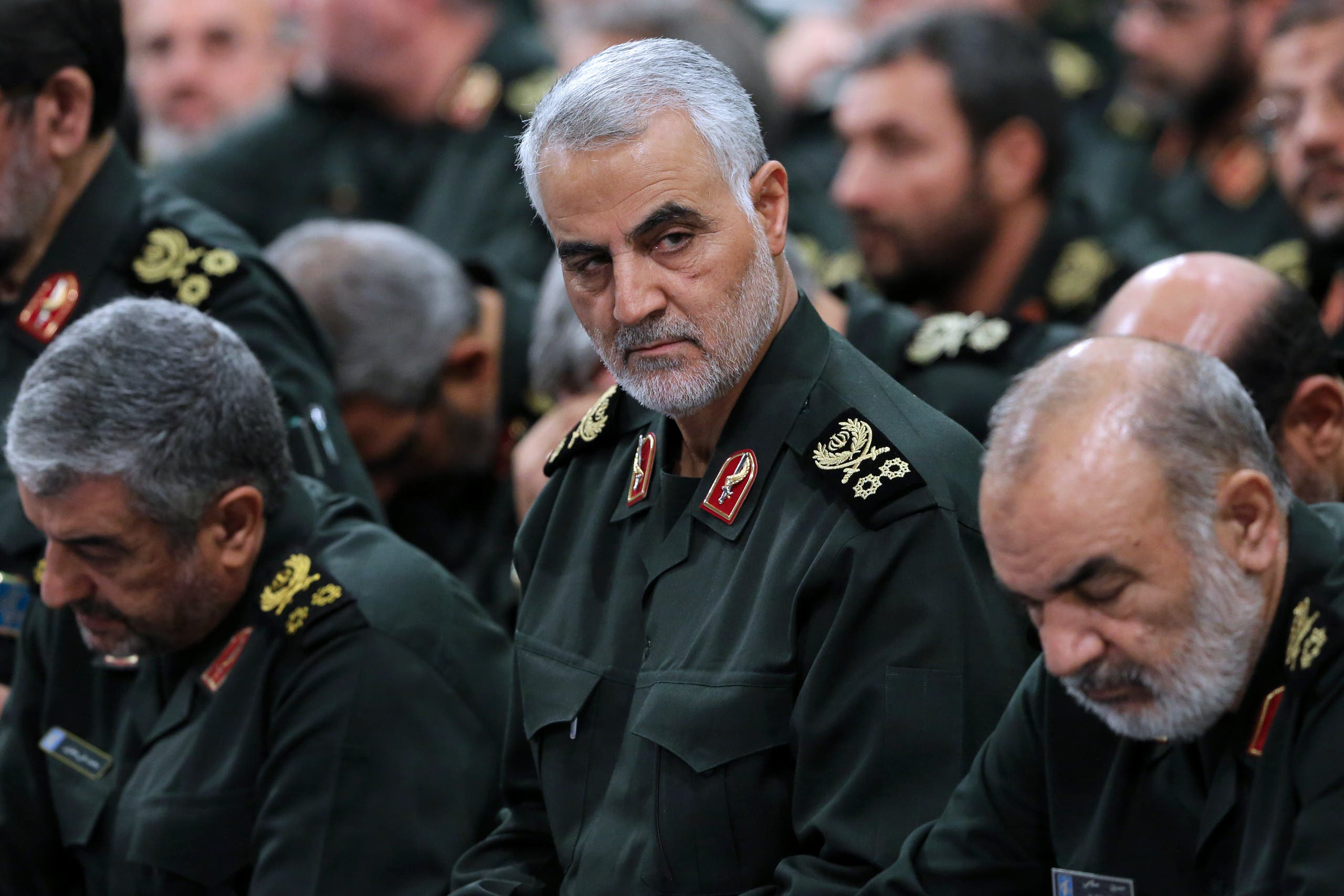 the Quds Force commander Major General, Qassem Suleimani (C), attending a meeting of Revolutionary Guard's commanders in Tehran. AFP
