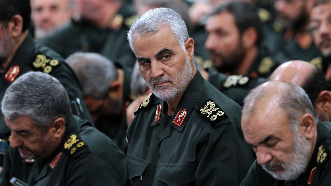 the Quds Force commander Major General, Qassem Suleimani (C), attending a meeting of Revolutionary Guard's commanders in Tehran. AFP