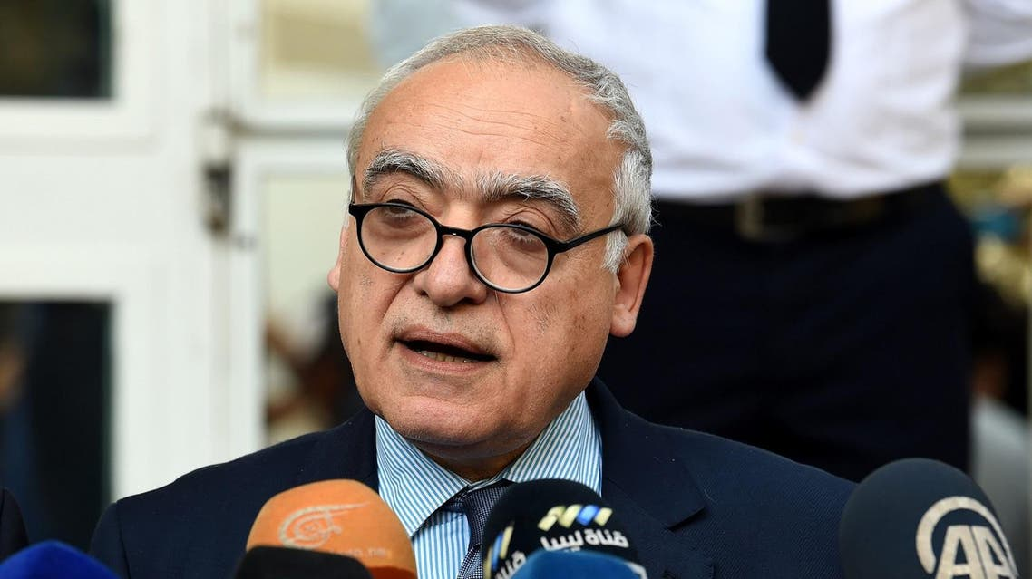 Ghassan Salame, special representative to the Secretary General of the United Nations for Libya, holds a press conference in the Tunisian capital Tunis on October 21, 2017. (AFP)