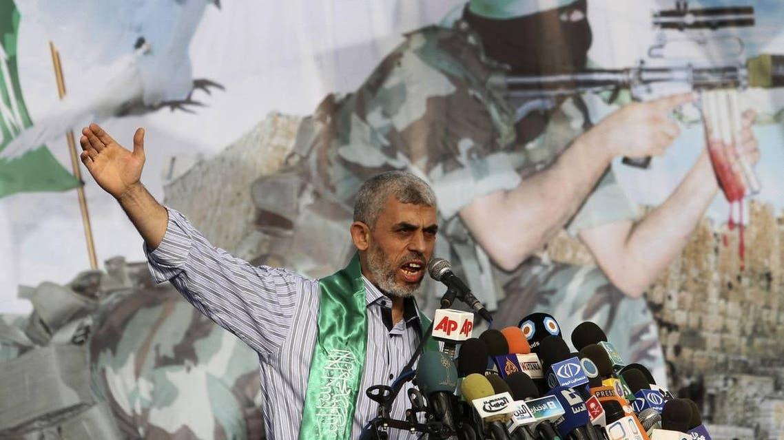 Senior Hamas leader Yahya Sanwar talks during a rally in Khan Younis, southern Gaza Strip, Friday, October 21, 2011(AP Photo/Hatem Moussa)