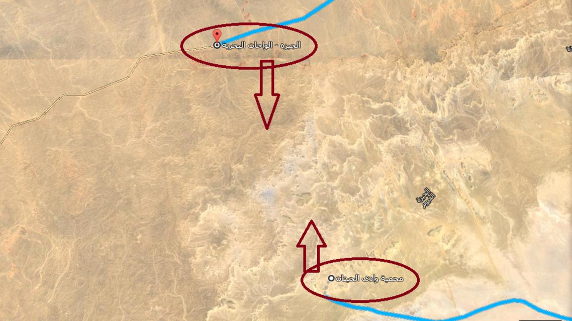 خريطة للمنطقة التي وقعت بها الاشتبكات