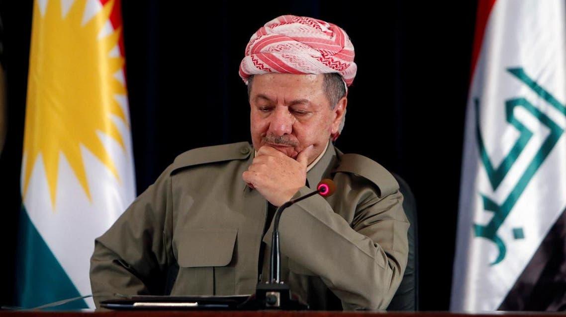 Iraqi Kurdish president Masoud Barzani speaks during a news conference in Erbil, Iraq. (Reuters)