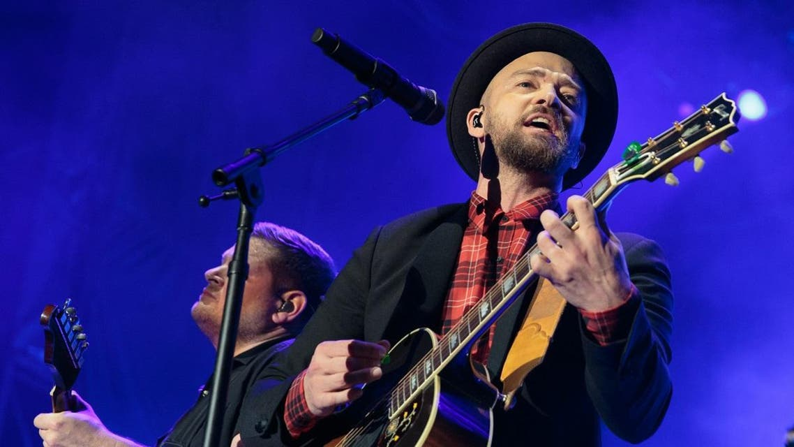 Justin Timberlake performs during the Formula 1 United States Grand Prix at Circuit of The Americas on October 21, 2017. (Reuters)