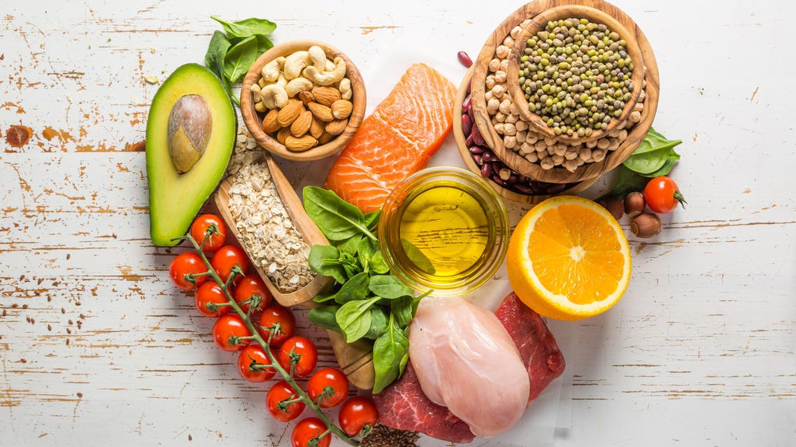 Selection of food that is good for the health and - Stock image...