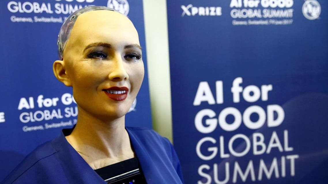 """Sophia, a robot integrating the latest technologies and artificial intelligence developed by Hanson Robotics is pictured during a presentation at the """"AI for Good"""" Global Summit at the International Telecommunication Union (ITU) in Geneva. (Reuters)"""