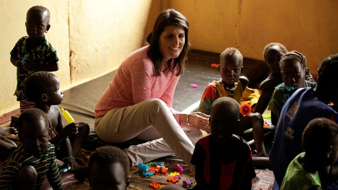 US Ambassador to the United Nations Nikki Haley meets South Sudanese refugee children at the Nguenyyiel refugee camp in Gambella Region, Ethiopia. (Reuters)
