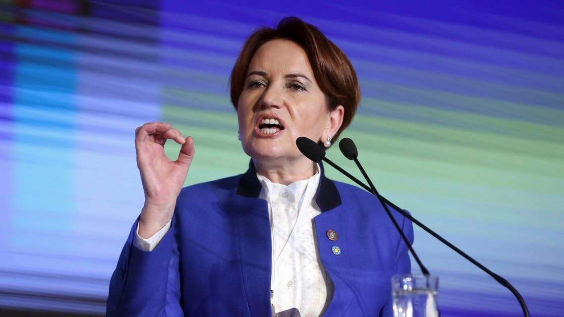 Meral Aksener, a former Turkish interior minister and deputy parliament speaker, addresses her party's first meeting in Ankara, Turkey, Wednesday, Oct. 25, 2017.ap