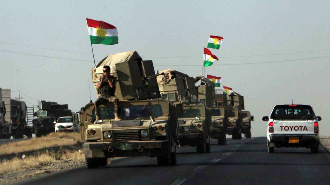 Vehicles of Kurdish Peshmarga Forces are seen near Altun Kupri between Kirkuk and Erbil, Iraq October 20, 2017. reuters