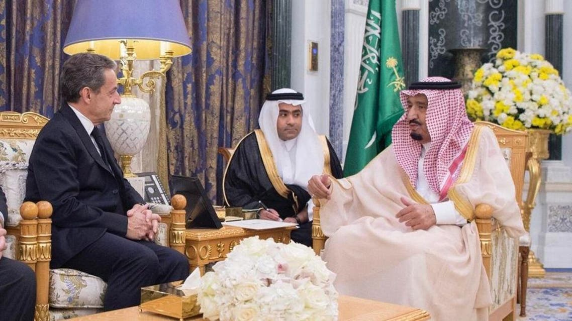 Saudi Arabia's King Salman bin Abdulaziz al-Saud received at al-Yamamah palace on Thursday former French president Nicolas Sarkozy. spa