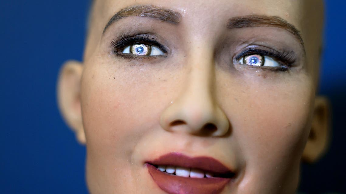 """""""Sophia"""" an artificially intelligent (AI) human-like robot developed by Hong Kong-based humanoid robotics company Hanson Robotics is pictured during the """"AI for Good"""" Global Summit hosted at the International Telecommunication Union (ITU) on June 7, 2017, in Geneva. The meeting aim to provide a neutral platform for government officials, UN agencies, NGO's, industry leaders, and AI experts to discuss the ethical, technical, societal and policy issues related to AI.  Fabrice COFFRINI / AFP"""