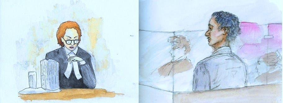 لأن التصوير ممنوع بالمحكمة، فقد رسموه ينظر في الجلسة الى القاضية مارغوت فليمينغ