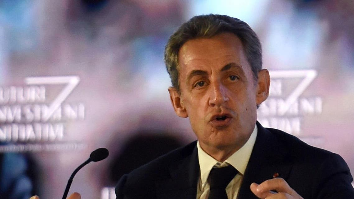 Former French president Nicolas Sarkozy delivers a speech during the Future Investment Initiative (FII) conference held in the Saudi capital Riyadh on October 26, 2017. Unveiling blueprints for a futuristic landscape with robots and driverless cars, Saudi Arabia's young crown prince outlined his most emphatic vision yet to transform the ultra-conservative kingdom as he sought to charm investors. (AFP)