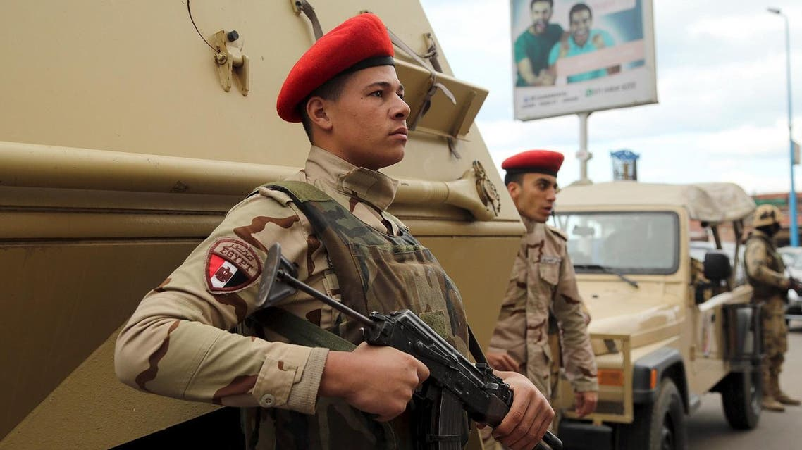 Soldiers stand guard in Alexandria during the fifth anniversary of the uprising that ended the 30-year reign of Hosni Mubarak, Egypt, January 25, 2016. REUTERS/Asmaa Waguih