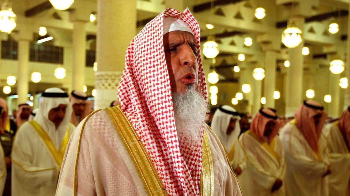 In this Sept. 9, 2010 file photo, Grand Mufti of Saudi Arabia, and head of the Council of Senior Religious Scholars, Sheik Abdul-Aziz Al-Sheik, prays at the Imam Turki bin Abdullah mosque during Eid al-Fitr morning prayers in Riyadh, Saudi Arabia. ap
